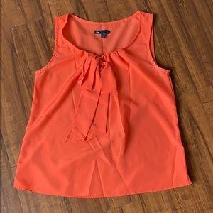 Orange tie neck blouse